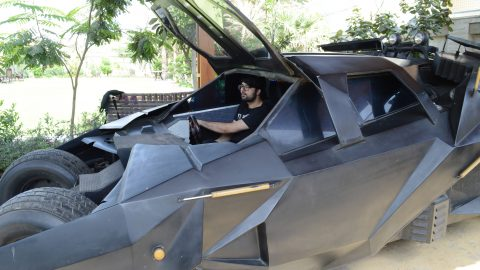 This batman fan from Pakistan has spent £6300 to make replica of bat mobile at his home using old car parts Image