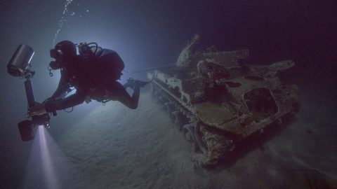 Eerie images of army tank perfectly preserved underwater Image