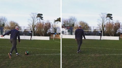 Football enthusiast shows off impressive ball tricks by kicking ball into top bin target Image