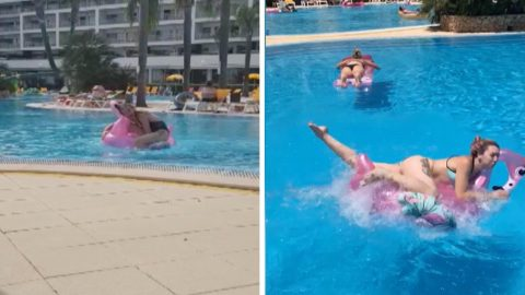 Better to just li-lo! Hilarious footage captures moment girl fails to climb onto inflatable  Image