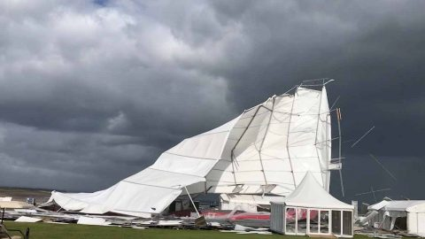 Storm Ali violently rips away huge marquee tent Image