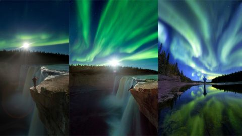 Wat-er spectacular sight! Photographer snaps stunning self portrait as Aurora Borealis shines down over majestic waterfall Image