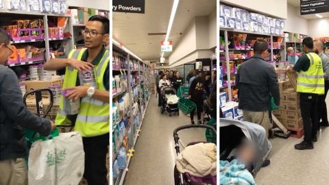 'Crazed shoppers' filmed in bizarre supermarket baby formula frenzy Image