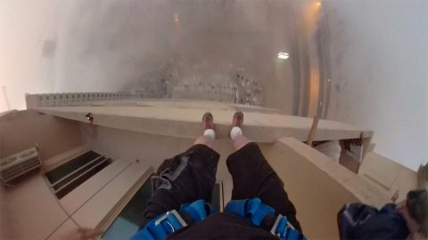 Honey Ill Get The Milk! Mans Hilarious But Scary Video As He Base Jumps From 29th Story Balcony Image