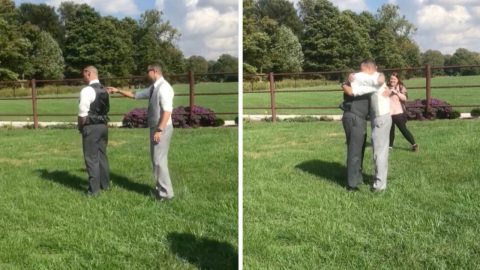 Heart warming moment of groom's reunion with his best friend Image