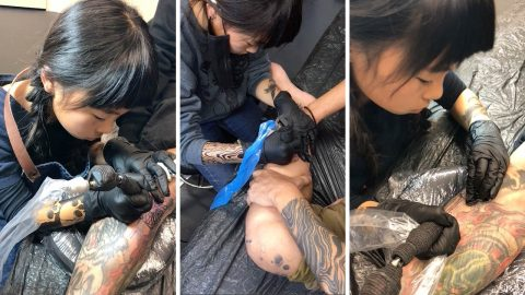 Tot-too artist: Girl follows in father's footsteps by becoming tattoo artist at the age of six Image