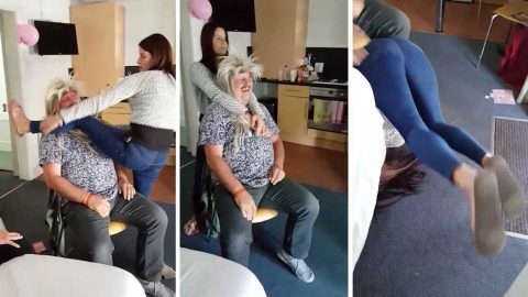 Slapdance: Hilarious moment hen party reveller falls on her head while performing cheeky lapdance Image