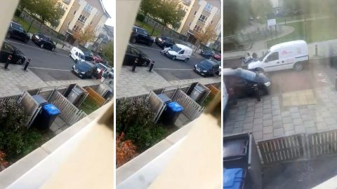 Shocking Footage Shows Woman Clinging To The Bonnet Of A Van As It Speeds Off Down The Road Over A  Speed Bump Image