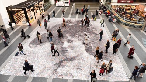 Giant suffragette portrait made of selfies wows crowds in Birmingham Image