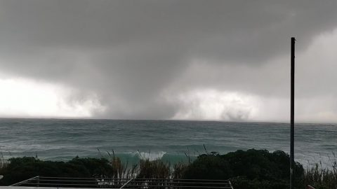 Twin tornadoes captured closing in on coastal town before causing devastation in southern Italy Image