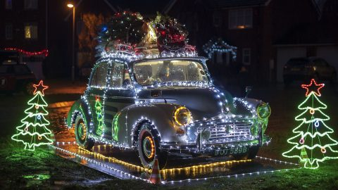 Man inspired by iconic Coca-Cola Christmas truck covers classic car in 10,000 fairy lights – but now he can't drive it Image