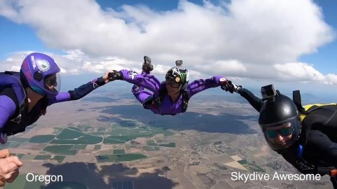 Sky's the limit! Couple break record with 50 skydives across 50 states Image