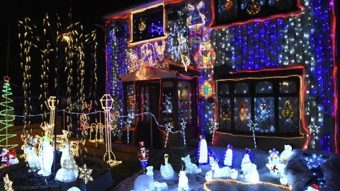 Would you take a look at my fancy di-sleigh! Festive tech junkie spends £26k on xmas light show to rival bog-standard displays Image