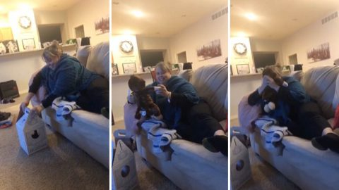 Heart-warming moment mum hears her late husbands voice coming from her present Image