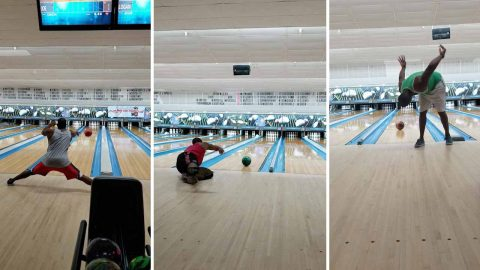 Incredible self-taught bowling trick shots caught on film Image