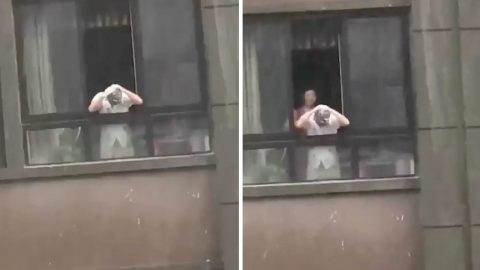 Raining head & shoulders: Bizarre moment man shampoos hair in rain while hanging out of apartment window Image