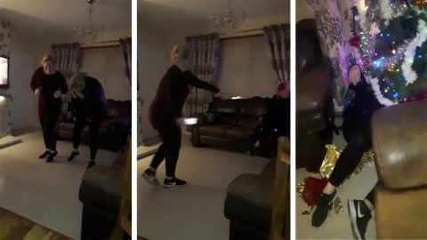 A very merry christmas! Hilarious moment daughter films mum stumbling into christmas tree after one too many drinks  Image