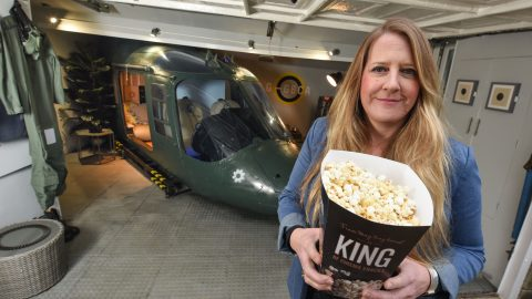 Flights camera action! Mum spends £10,000 converting old army helicopter into home cinema Image