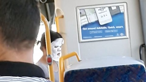 Watch: Bizarre moment woman hops on bus wearing face mask Image