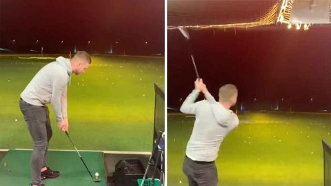Fore god's sake: Golfer breaks lights with wayward shot at driving range Image