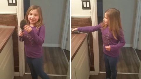 Hair-larious hack! Dad's genius idea to stop his daughter losing hairbrush goes viral Image
