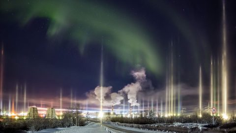 Stunning images of vertical aurora caught on camera Image