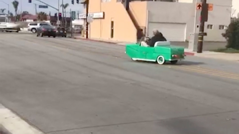 Mini mercedes: a tiny vintage car goes for a big ride  Image