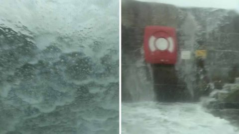 Waves Swamp Van Driver As Water Crashes Over Seawall From Storm Gareth Image