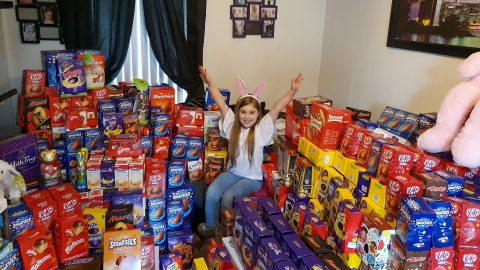 Incredible Viral Snaps Show Selfless Schoolgirl, Nine, Surrounded By More Than 650 Easter Eggs She Collected For Sick Kids Image