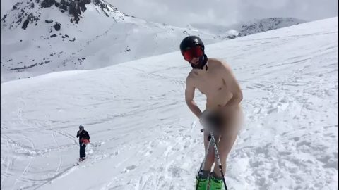Bare Talent! Hilarious Moment Adrenaline Junkie Strips Off To Ski Naked In French Alps Image