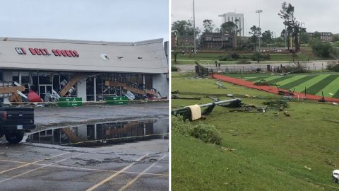 Louisiana Resident Captures Devastating Effects Tornado As Soccer Field And Shopping Centre Are Destroyed Image