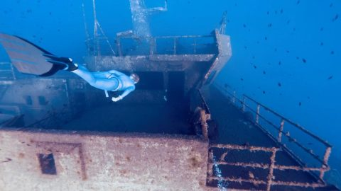 Stunning Footage Captures Freediver Swimming Across Shipwreck Image