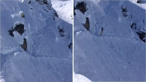 Snowboarder Takes Direct Route On Descent After Failing To Land Double Front Flip Image
