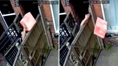 Online Shopper Left Angry After Claiming Cctv Footage Shows lazy Yodel Driver Throwing Parcel Over Six Foot Fence When He Cant Unlock Gate Image