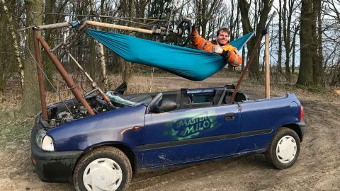 There's No Lazying About In This Hammock! Innovative Mechanic Has Stripped This Car And Replaced The Driver's Seat For A Hammock Image