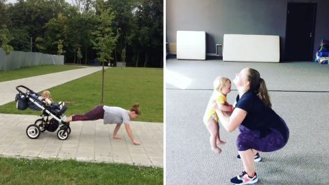 Fitness Fanatic Mother Includes Baby Son In Workouts Even Using Pram As Help Image