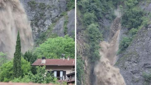 Flood Causes Massive Waterfall Right Next To House Image