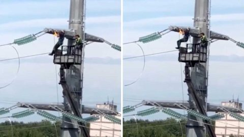 Bored Worker Takes Up Electrifying Work-out By Testing His Strength With Power Line Pull-ups Image