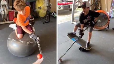PROUD FORMER PROFESSIONAL ICE HOCKEY PLAYER POSTS TALENTED SONS PRACTISE VIDEOS SHOWING OFF AMAZING TALENT WITH INTENSE BALANCING WORK-OUTS Image