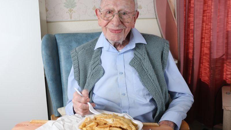 IT'S THE SEA-CRET TO LONG LIFE! SUPERCENTENARIAN WHO LOVES FISH AND CHIPS CLAIMS NATION'S FAVOURITE SEASIDE DISH HAS HELPED HIM TO LIVE TO 107 Image