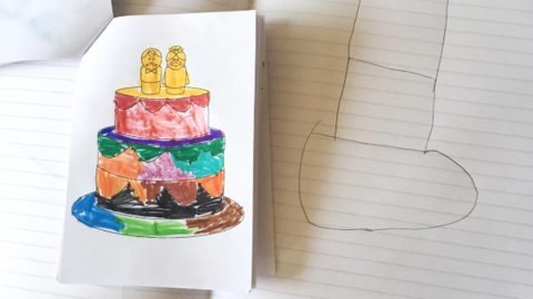 WHAT SORT OF CAKE IS THAT? SCHOOLBOY LEAVES WEDDING GUESTS IN HYSTERICS WITH HIS DRAWING OF A TWO-TIER WEDDING CAKE Image