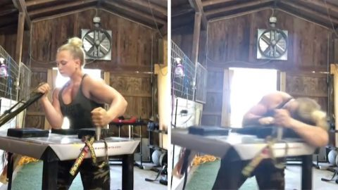 INTENSE WORK-OUT PROVES YOU WOULDN'T WANT YOUR ARM TWISTED BY THIS TOUGH ARM WRESTLER Image