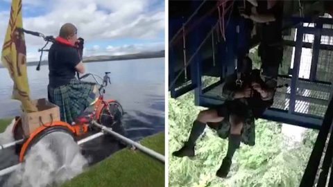 PASSIONATE MUSICIAN TAKES HIS LOVE TO THE EXTREME BY PLAYING THE BAGPIPES WHILE BUNGEE JUMPING Image