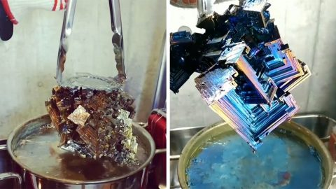 SATISFYING VIDEO SHOWS MAN PULLING HUGE MULTICOLOURED CRYSTALS OUT OF BOILING POT Image