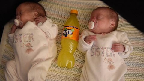 FANTA-STIC RECOVERY! PREMATURE TWINS BORN SAME SIZE AS BOTTLE OF POP ALLOWED HOME AFTER 1,000 HOURS IN INTENSIVE CARE Image