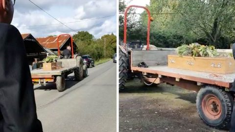 FARMER GIVEN FINAL SEND OFF - AND IS TOWED TO FUNERAL ON HIS FAVOURITE TRAILER Image