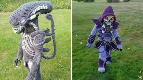 KNIT-MARE CROCHET COSTUMES: THIS MOTHER HAS CREATED FULL HALLOWEEN COSTUMES FROM CROCHETING Image