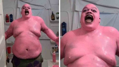 PATRICK THE SCAREFISH: GUY PAINTS HIMSELF PINK TO BECOME TERRIFYING VERSION OF BELOVED SPONGEBOB SQUAREPANTS CHARACTER IN BIZARRE VIDEO Image