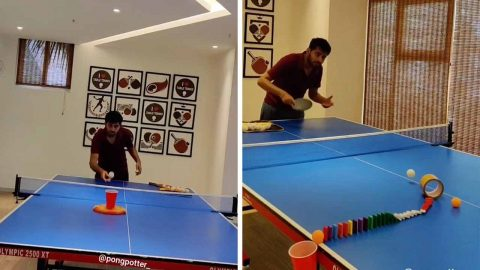 DEDICATED PING-PONG PLAYER SPENDS HOURS MASTERING AMAZING TRICK-SHOTS Image