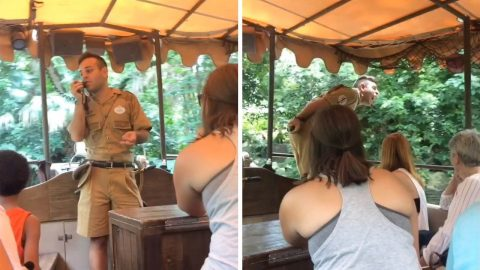 THAT'S ONE WAY OF DETERRING THE HIPPOS: THIS JUNGLE CRUISE GUIDE PROFESSES HIS LOVE FOR HIPPOS AS A WAY TO SCARE THEM OFF Image